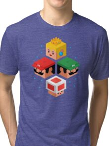 MUSHROOM KINGDOM CUBES Tri-blend T-Shirt