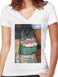 Fishing Net Cork Floats Women's Fitted V-Neck T-Shirt