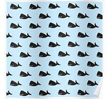 Cute Little Navy Blue Whale Pattern on Pastel Blue Poster