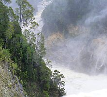 forceful gushing down from Reece Dam by gaylene
