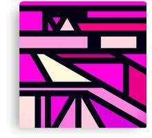 Modern Pink, Fuchsia, and White Geometric Pattern Canvas Print
