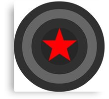 Black and White Shield With Red Star Canvas Print