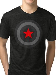Black and White Shield With Red Star Tri-blend T-Shirt