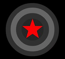Black and White Shield With Red Star by lxahh