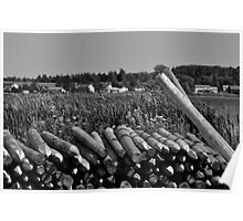 Weathered Fence Posts Poster