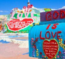God's Mailbox at Salvation Mountain Sticker