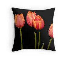 Tulips Glisten Throw Pillow