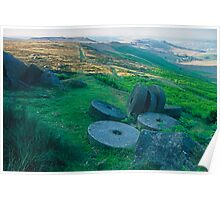 Stanage Edge millstones dawn Poster