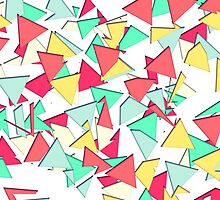 Modern Pink, Yellow, Teal, & Coral Geo Triangles by Blkstrawberry