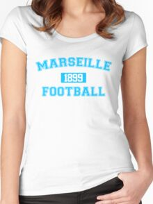 Marseille Football Athletic College Style 1 White Women's Fitted Scoop T-Shirt