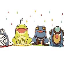 pokemon frogs in the rain by keichi