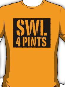 Safe Working Load 4 Pints - Black Stencil, Funny T-Shirt