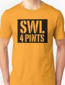 Safe Working Load 4 Pints - Black Stencil, Funny Unisex T-Shirt