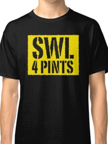 Safe Working Load 4 Pints - Yellow Stencil, Funny Classic T-Shirt