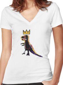 Basquiat Dinosaur Women's Fitted V-Neck T-Shirt