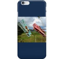 Two aged clothespin as friends on a clothes line iPhone Case/Skin