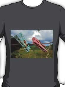 Two aged clothespin as friends on a clothes line T-Shirt