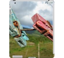 Two aged clothespin as friends on a clothes line iPad Case/Skin