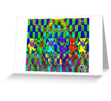 Bears #2 Grateful Dead Psychedelic Optical Illusion Design Greeting Card