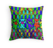 Bears #2 Grateful Dead Psychedelic Optical Illusion Design Throw Pillow
