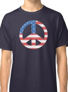 Peace Symbol with American Flag T-Shirt Classic T-Shirt