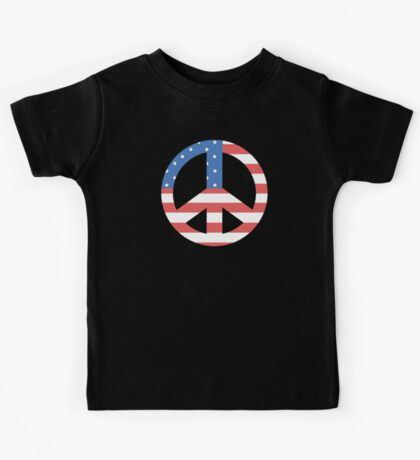 Peace Symbol with American Flag T-Shirt Kids Tee