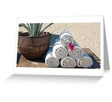 towels on beach Greeting Card
