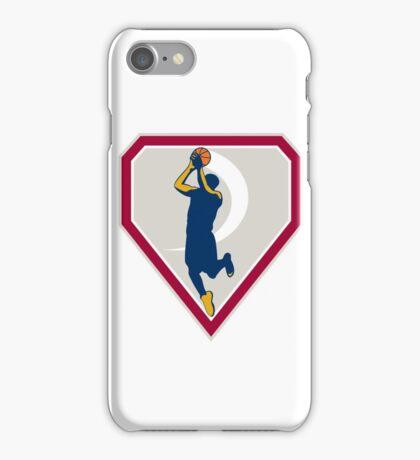 Basketball Player Jump Shot Ball Shield Retro iPhone Case/Skin