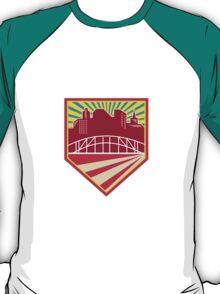 Skyscrapers and Bridge Retro Crest T-Shirt