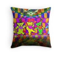 Grateful Bears 3 Dancing Dead Psychedelic Design Throw Pillow