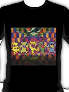 Grateful Bears 3 Dancing Dead Psychedelic Design T-Shirt