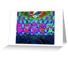 Grateful Bears 4 Psychedelic Optical Illusion Design Greeting Card