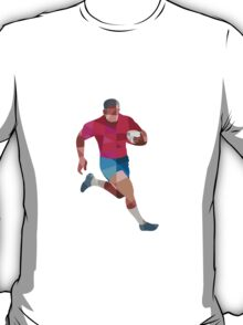 Rugby Player Running Side Low Polygon T-Shirt