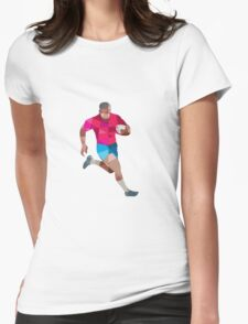 Rugby Player Running Side Low Polygon Womens Fitted T-Shirt