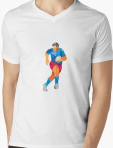 Rugby Player Running Low Polygon Mens V-Neck T-Shirt