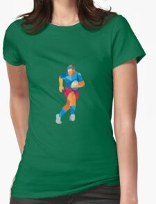 Rugby Player Running Low Polygon Womens Fitted T-Shirt