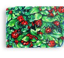 Ladybugs in the Hedge Metal Print