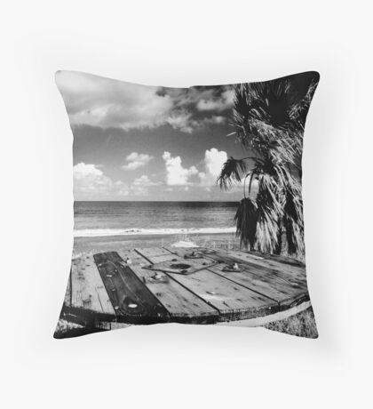 Cyprus Beach Bar Throw Pillow