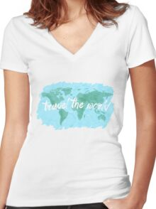 Travel the World watercolor Women's Fitted V-Neck T-Shirt
