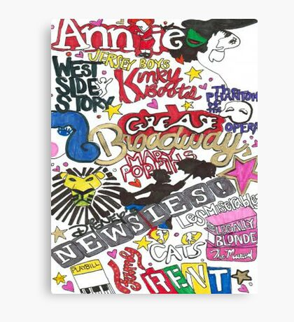 Broadway Shows collage Canvas Print