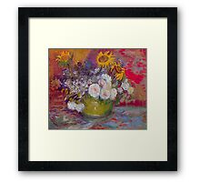 'Still Life with Roses and Sunflowers' by Vincent Van Gogh (Reproduction) Framed Print