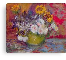 'Still Life with Roses and Sunflowers' by Vincent Van Gogh (Reproduction) Canvas Print