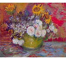 'Still Life with Roses and Sunflowers' by Vincent Van Gogh (Reproduction) Photographic Print
