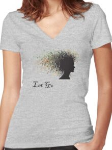 """Let Go"" Yoga Women's Fitted V-Neck T-Shirt"