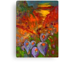 Lilies in the field (oil on stretched canvas 45 x 60 cm) Canvas Print