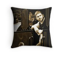 Historic Fireman on the Talyllyn Railway Throw Pillow