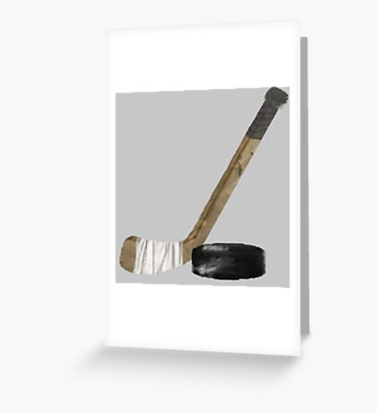 Hockey Stick and Puck - watercolor Greeting Card