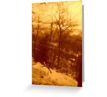 Snow scene in sepia Greeting Card