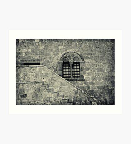 Old Italian window with stairs Art Print