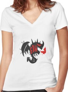 EDH-Red Dragon Women's Fitted V-Neck T-Shirt